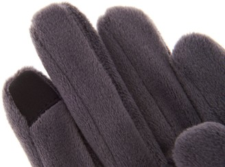 Cuddl Duds Double Plush Velour Gloves w/ Faux Sherpa Cuff