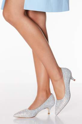 Quiz Silver Diamante Kitten Heels