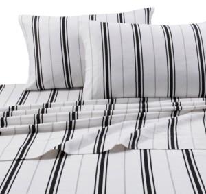 Tribeca Living Flannel 170-gsm Stripe Printed Extra Deep Pocket Cal King Sheet Set Bedding