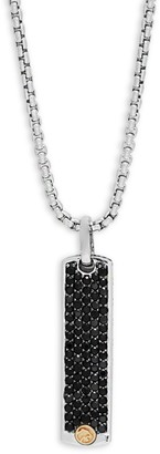 Effy Black Sapphire, 18K Yellow Gold and Sterling Silver Pendant Necklace