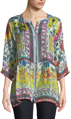 Johnny Was Theda Printed Tunic w/ Pompom Trim