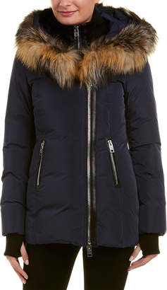Nicole Benisti Leather-Trim Down Coat