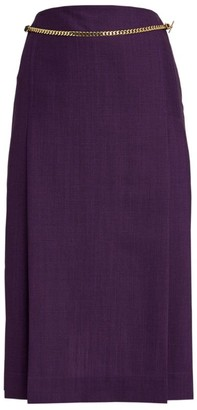 Victoria Beckham Chain-Detail Pleated Skirt