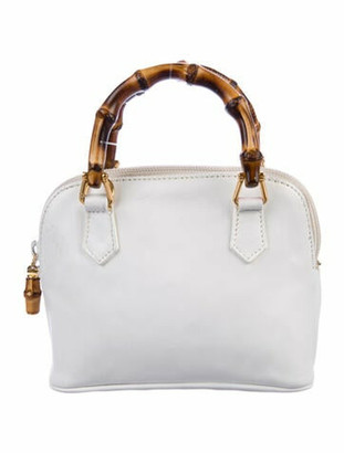 Gucci Vintage Leather Mini Bamboo Handle Bag White