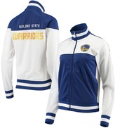 G Iii Women's G-III 4Her by Carl Banks White/Royal Golden State Warriors Tip Off Rhinestone Tricot Full-Zip Track Jacket