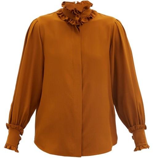 Victoria Beckham Ruffled Silk Blouse - Brown