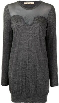 Céline Pre-Owned Pre-Owned Sheer Panel Fine Knit Dress