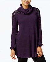 Style&Co. Style & Co. Cowl-Neck Lace-Yoke Sweater, Only at Macy's