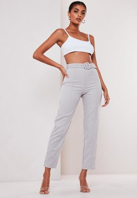 Missguided Grey Co Ord Belted Seam Detail Cigarette Pants