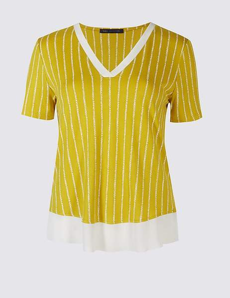 Marks and Spencer Striped V-Neck Short Sleeve T-Shirt
