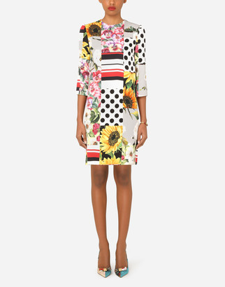 Short patchwork charmeuse dress