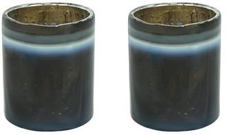"Aspen Creative Corporation Aspen Creative Grey Glass Votive Candle Holder 2-3/4"" Diameter x 3"" Height, 2 Pack"