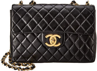 Chanel Black Quilted Lambskin Leather Jumbo Half Flap Bag