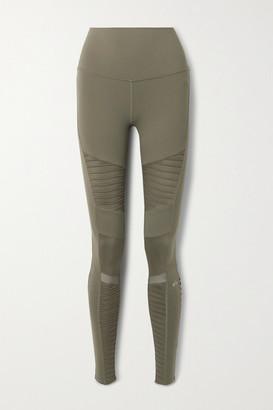 Alo Yoga Moto Mesh-trimmed Stretch Leggings - Army green