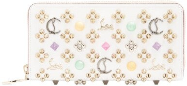 Christian Louboutin Panettone Embellished Zip Around Leather Wallet - Womens - White Multi