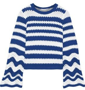 Alice + Olivia Striped Crochet-knit Sweater