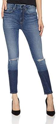 Hale Women's Tristan High-Rise Skinny Jean Cropped Color Blocked 32 Lure