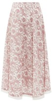 Le Sirenuse Le Sirenuse, Positano - Livia Valy Myers-print Cotton-voile Skirt - Womens - Red Print