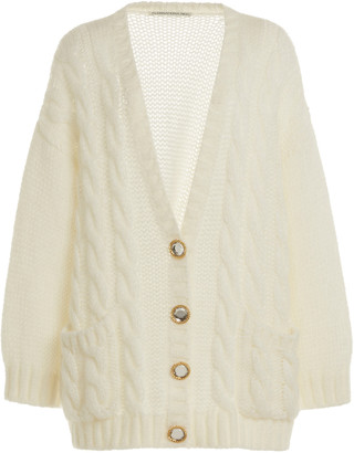 Alessandra Rich Button-Detailed Oversized Mohair-Wool Cardigan