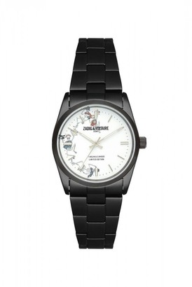 Zadig & Voltaire Unisex Quartz Watch with White Dial 36 mm and Black Stainless Steel Strap ZVF415