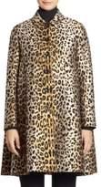 Sara Battaglia Leopard Jacquard Button-Up Coat