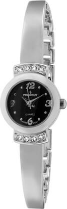 Peugeot Women's Half Bangle Bracelet Wrist Watch - Cristal Accented with Alloy Metal Strap
