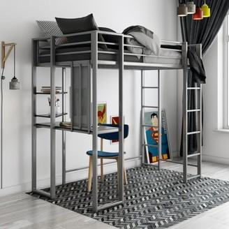 DHP Abode Twin Metal Loft Bed over Workstation Desk, Silver