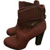 BCBGMAXAZRIA Burgundy Leather Ankle boots