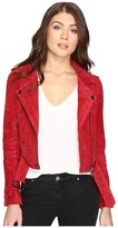 Blank NYC Red Suede Moto Jacket in Red Moon Women's Coat