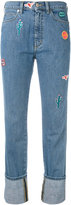 Paul Smith embroidered patch straight jeans - women - Cotton - 25