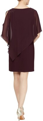 Slny Chiffon Overlay Beaded Detail Sheath Dress