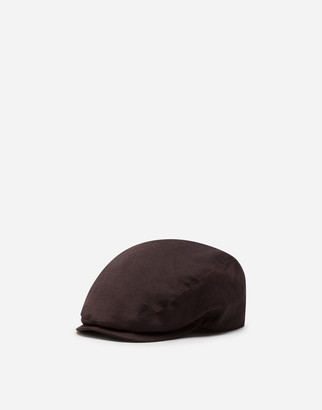 Dolce & Gabbana Flat Cap In Linen And Cotton