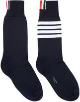 Thom Browne Navy Mid-Calf Four Bar Socks
