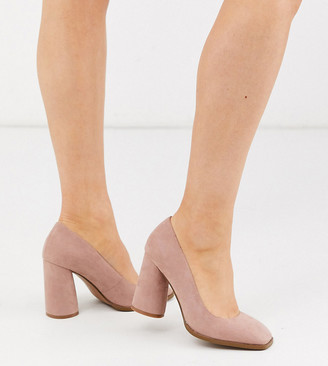 ASOS DESIGN Wide Fit Pinky square toe block heeled court shoes in beige