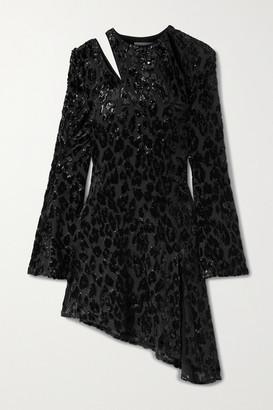16Arlington Ursinia Asymmetric Cutout Metallic Fil Coupe Chiffon Mini Dress - Black