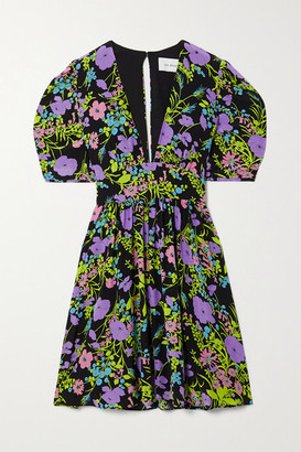 Les Rêveries Gigi Belted Floral-print Silk Mini Dress - Purple