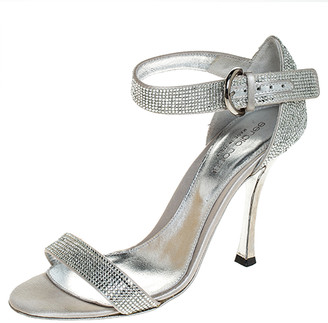 Sergio Rossi Grey Crystal Embellished Satin Open Toe Ankle Strap Sandals Size 36