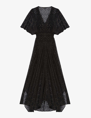 Maje Rachellim openwork asymmetric muslin dress