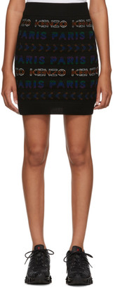 Kenzo Black Wool All Over Logo Tube Miniskirt