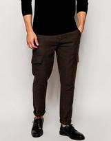 Asos Skinny Trousers In Herringbone Cargo Style