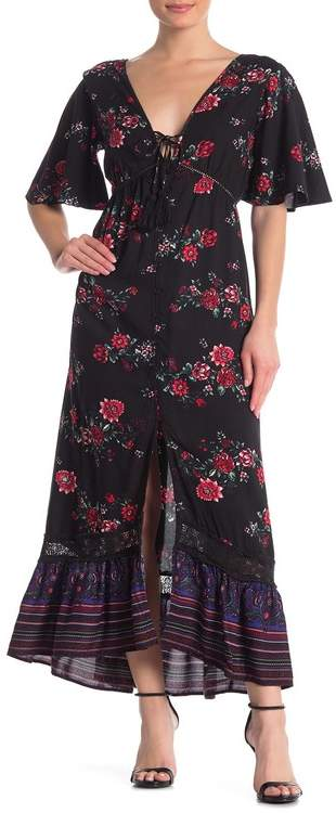 Band of Gypsies Costa Rica Floral Border Print Maxi Dress