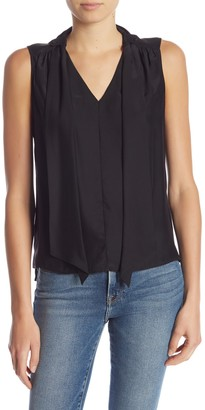 Frame Front Tie V-Neck Silk Tank Top
