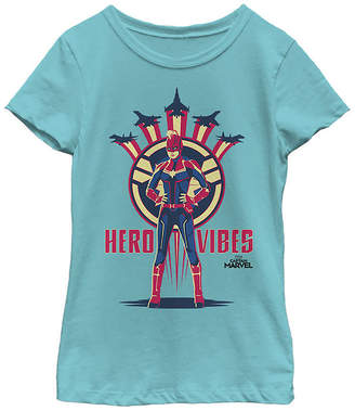 Fifth Sun Captain Marvel Movie Hero Vibes Planes Girls Crew Neck Short Sleeve Marvel Graphic T-Shirt - Preschool / Big Kid Slim