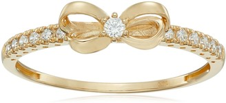 Amazon Collection 10K Gold Dainty Bow Ring set with Round Cut Swarovski Zirconia (.216 cttw) Size 7