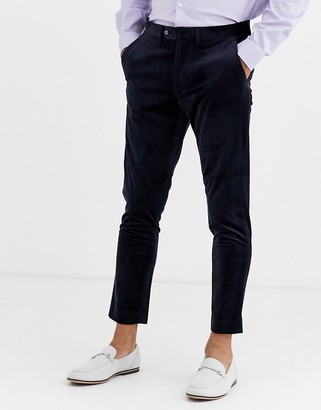 Gianni Feraud Skinny Fit Velvet Cropped Suit Trousers