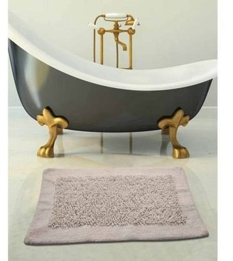 Saffron Fabs Bath Rug Cotton and Chenille 2-Piece Set, Microfiber Frizz Loop Pattern and Solid Border, Assorted Colors and Sizes