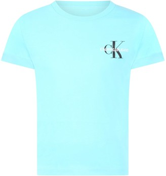 Calvin Klein Light Blue T-shirt For Kids With Double Logo