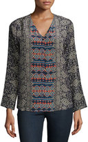Tolani Greer Mix-Print Easy Silk Tunic