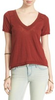 Free People 'Pearls' Raw Edge V-Neck Tee