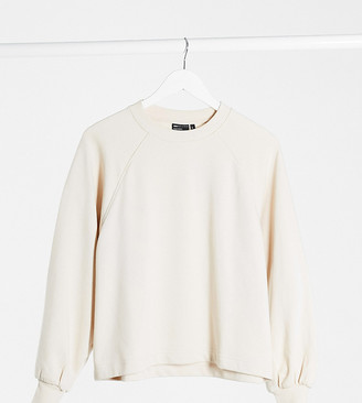 ASOS DESIGN Petite boxy sweat with wide sleeve in stone